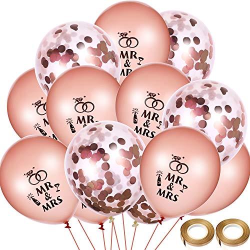 Chinco 40 Stück Hochzeit Ballons Rose Gold Herr Frau Ballons Konfetti Ballon mit 2 Rollen Ballon Bänder für Hochzeitstag Engagement Party Decor (Engagement Party Ballons)
