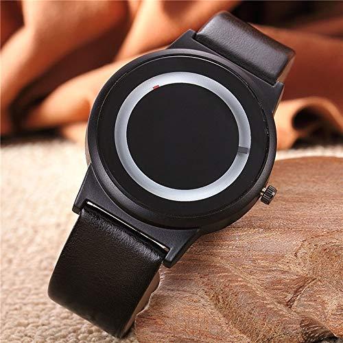 XKC-watches Herren- und Damenuhren, 2 stücke Paare Uhr Harajuku Stil Uhr Candy Farbe PU Lederband Quarz Armbanduhren Für Unisex Frauen Männer (Farbe : Schwarz) Candy Tech