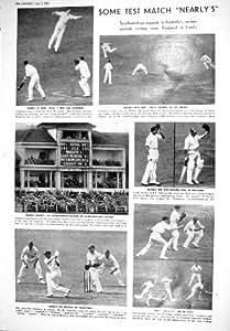 Old Original Antique Victorian Print 1930 Cricket Lords White Chapman Bradman Woodfull Grace Thornton Green