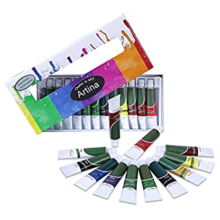Artina Crylic Acrylfarben Set 12x12 ml Künstlerfarben, hochwertiges Farbset für Hobby-Künstler oder Malprofis