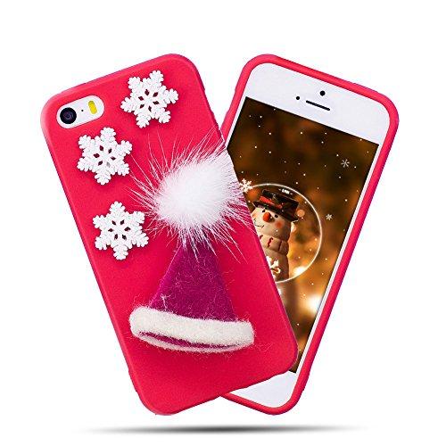 Preisvergleich Produktbild Einhorn Handyhülle iPhone 5, Einhorn iPhone 5 Hülle, iPhone 5 Hülle TPU Case, SpiritSun Silikon Weicher Gel Flexible Soft Hülle Schutzhülle Handy Schutzhülle TPU Bumper Rückseite Handy Tasche für Apple iPhone5/5S/SE(4.0 Zoll)-Weihnachtsmütze