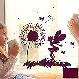 ilka parey wandtattoo-welt® Fensterbild Wandtattoo Pusteblume Fee mit Schmetterlingen und Punkten Fensteraufkleber Fenstersticker Wandaufkleber Wandsticker Aufkleber Sticker M2093 - ausgewählte Farbe: *beere* ausgewählte Größe: *L - 40cm breit x 40cm hoch*