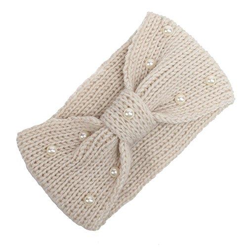 NINGSANJIN Haarband in Feinripp Optik mit Schleife, Stirnband, Headband, Damen,Beige -