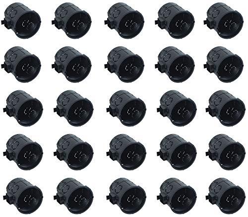 Meister Schalterdose Unterputz-60 tief-schwarz-25 Stück-60 mm Durchmesser-Zum Einbau von Schaltern & Steckdosen/Unterputzdose mit Tunnelstutzen/Gerätedose/Abzweigdose / 7460110