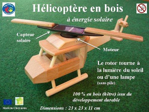 Hélicoptère en bois à énergie solaire, le grand modèle