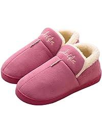 Invierno Inicio Zapatos De Algodón Pareja Zapatillas Color Sólido Calor Antideslizante Mujer