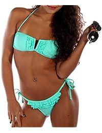 RAE Damen Push up Bikini Neckholder Push up Bikini Neckholder Volant Marcelli Cup B-C verschiedene Farben