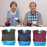 Yimosecoxiang yimosecoxiang Wasserdichtes Old People Lätzchen Mahlzeit Essen Trinken Lätzchen Schutz Disability Aid Schürze Dunkelblau