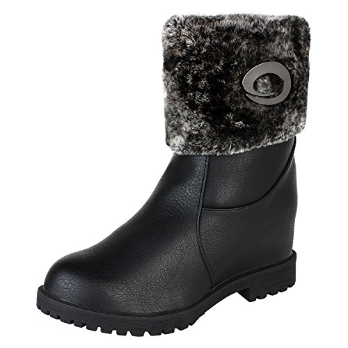 Authentic-Vogue-Womens-Ankle-Length-Faux-Fur-Wedge-Heel-Black-Leather-Boots