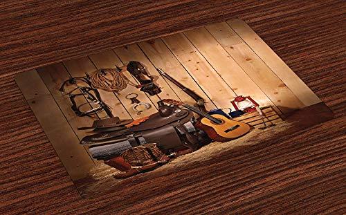 tzsets, amerikanische Texas-Stil-Country-Musik-Gitarre Cowboystiefel USA Volkskultur Print, Waschbar Tischsets für Esszimmer Küchentisch Dekoration , 6er Set ()