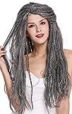WIG ME UP ® - 09428-ZA103/ZA68A Peluca Mujer Hombre Carnaval Halloween Larga voluminosa Mezcla Gris Negro Viejo Mago Bruja Brujo Hippie