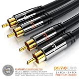 Primewire - RCA Cable 10m HQ Audio | 2RCA to 2RCA Male Stereo Audio Cable for Surround Sound / Dolby Digital / DTS | Metal Shell Casing + Gold Plated for DJ Controller, Home Theater, HDTV, Hi-Fi Systems
