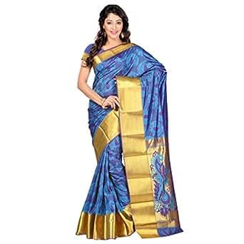 Varkala Silk Sarees Women's Art Silk Kanchipuram Saree With Blouse Piece(JP7101ADV_Turquoise Blue_Free Size)