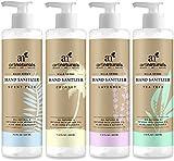 ArtNaturals Natural Hand Sanitizer Gel - (4 x 220ml) - Made with Essential Oils, Jojoba Oil, Aloe Vera & Glycerin Infused Formula - Set Includes Scent Free, Coconut, Lavender and Tea Tree