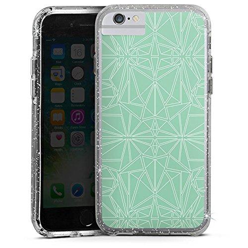 Apple iPhone 7 Bumper Hülle Bumper Case Glitzer Hülle Pattern Muster Mint Bumper Case Glitzer silber