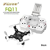 FQ777 FQ11W Mini Micro Foldable Pocket Drone with 0.3MP WIFI FPV Camera Headless Mode One Key To Return 3D Roll Take Photo Record Video Quadcopter (Black)