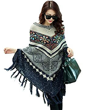 ZKOO Mujeres Ponchos Capas Tassel Suaves Suéter Otoño Invierno Largas Chaqueta Blusa Outwear Tops Largas Chaqueta