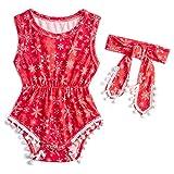 RAISEVERN Red Harem Overall für Kinder Mädchen Snap Button Playsuit Frühling ärmellose Schneeflocke für 12-18 Monate Baby Onesies Set gedruckt