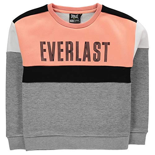 Everlast Mädchen Large Logo Rundhals Sweatshirt Grau Marl/Peach S -