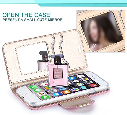 iPhone 8 Hülle , iPhone 7 Hülle, Fyy® Hochwertige Kunstleder Tasche mit Spiegel und Schleifen für Apple iPhone 8/7 ,Rosa Gold+Gold A-Rosa Gold+Gold