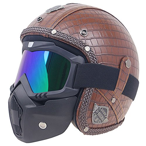 KKmoon Moto Casco Abiertos Integral Estilo Vintage PU Cuero Windproof and Sandproof