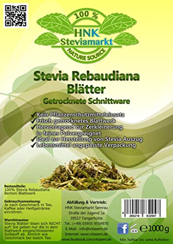 Stevia Rebaudiana Blätter Schnittware 1er Pack (1 x 1kg) -