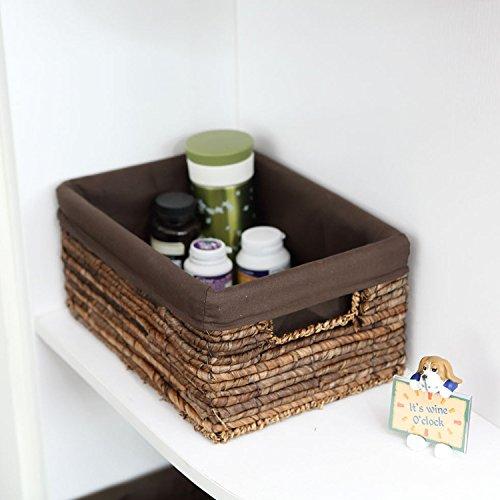 XBR_ paille paille tressée de stockage stockage panier panier boite tiroir main ameublement de maison panier panier de stockage,5 séries de chocolat