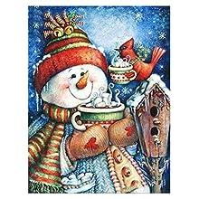 MWOOT Pupazzo di Neve Fai da Te Pittura Diamante 5D, Christmas DIY Diamond Painting Kits,Pieno di Cristallo Strass Diamante Ricamo Art Craft per la Decorazione della Parete di Casa (30x40cm),Stile C