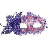 Manyo Modische Schmetterlings-Bogen-Masken-Halbe Maske für Mädchen-Frauen-Maskerade-Tanzen (Lila)