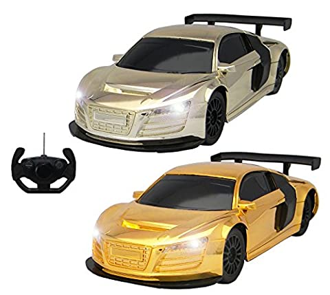 Audi R8 Style RC Remote Radio Controlled Toy Car with Lights - PL9136 Electric Radio Controlled Audi R8 Style RC Car –1:18 Model – Ready to Run, EP (Metallic)