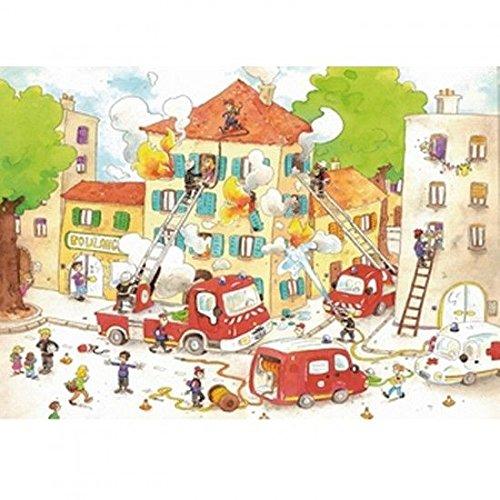 Puzzle Wil d'art en bois pour enfant-50 pièces-Les Pompiers CACOUAULT