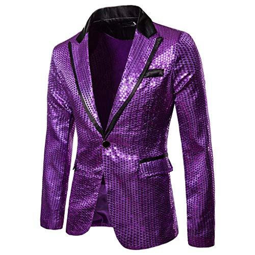TWISFER Herren Gentleman Mode Blazer Slim Fit Einknopf Pailletten Coat Jacket Festlich Jacke Herrenmode Mantel Party Dance Nachtclub Blazer Jacke -