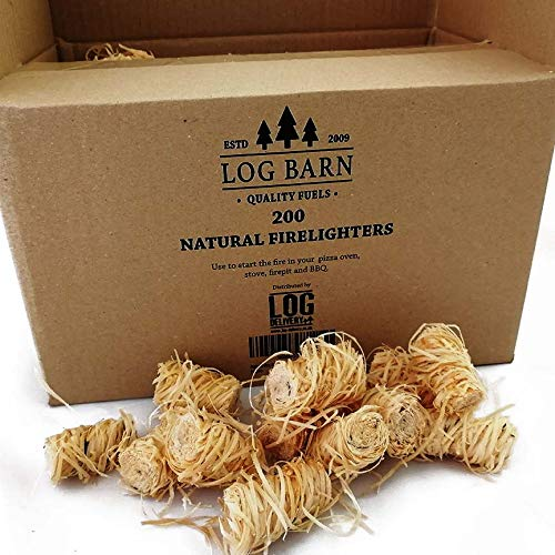 Natural Eco Wood Firelighters – Wood Wool Flame Fire Starters Great for Lighting Fires in Stoves, BBQ's, Pizza Ovens & Smokers, Safe Charcoal Starter for Lighting A Charcoal Barbecue (200pc)