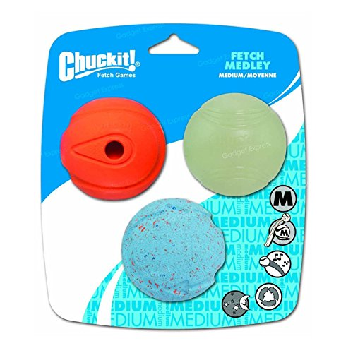 Glow Hund Spielzeug Ball (Chuckit 3Pack Hund sortiert Bälle Glow in the Dark, Bounce und Pfeifen, Fetch Spielzeug Medley–Medium)