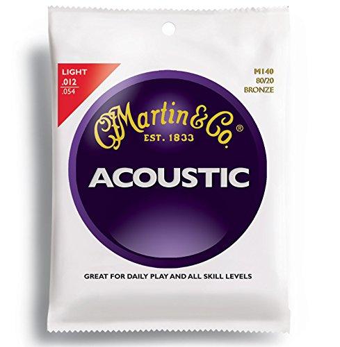 Martin M140 - Juego de cuerdas para guitarra acústica de bronce, .012-.054