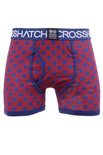 3Pack New Mens Designer Crosshatch Elastic Boxers Shorts Trunks Under Wear Pants TANGO RED GRILLIS 3 PACK