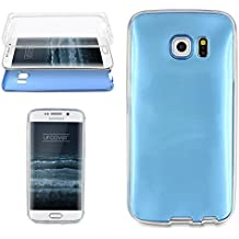 Urcover® Samsung Galaxy S6 Edge | Funda Carcasa 360 Grados Ultra Slim Metálico | TPU en Azul | Case Cover Protección completa Smartphone Móvil Accesorio