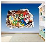 Gedruckter Vinyl-Aufkleber fürs Kinderzimmer, Super Mario Brothers, Loch in der Wand, 3D-Smash (SS40014), Large 600 x 425mm