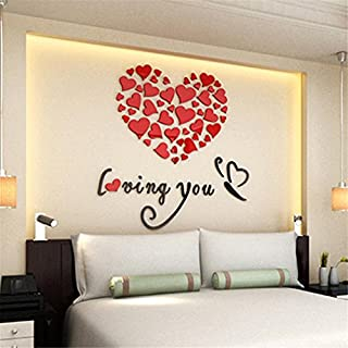 HLHN Creative Love Heart DIY Removable Wallpaper Household Home Wall Sticker Poster Acrylic Mural Decoration for Bedroom Livingroom Bathroom Kitchen (Red)