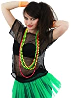 LADIES 80S MESH TOPS FANCY DRESS ACCESSORY 1980'S RAVE TSHIRT FISHNET ROLLER DISCO 80'S CLUBBING IN 5 COLOURS BLACK, NEON PINK, LIME GREEN, ORANGE, YELLOW (NEON PINK) by Unknown