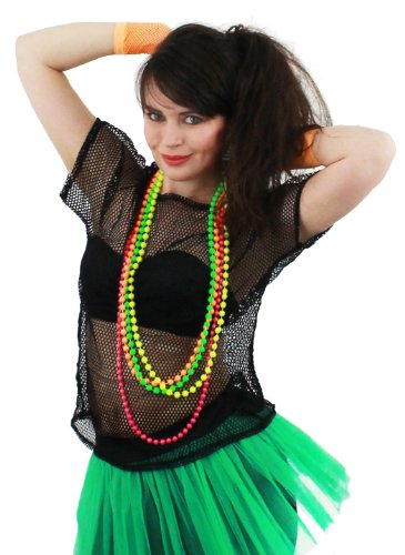 Fancy Dress Accessory 1980 's Rave T Fishnet Roller Disco 80' S Clubbing in 5 colours Black, Neon Pink, lime green, orange, Yellow (Neon Pink) by Unknown (Roller Disco Fancy Dress Kostüme)