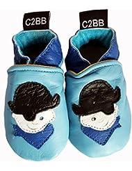 C2BB - Chaussons bébé en cuir souple garçon   Petit pirate