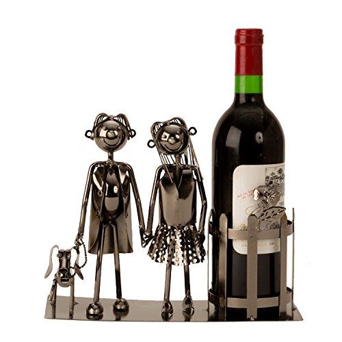Lifestyle & More Moderner Weinflaschenständer Flaschanhalter Paar mit Hund aus Metall Silber Höhe 22 cm