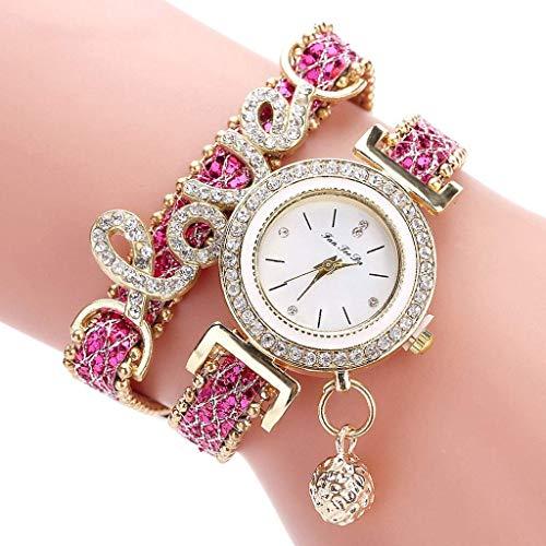 Super Black Bull Damenuhr Quarz-Armbanduhr mit rundem Zifferblatt eingelegten Strass Armbanduhr mit langem Armband für Frauen, Pink