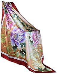 Prettystern - handbemaltes Seidentuch 110cm Pastelltöne Blumenmuster chinesische Malerei