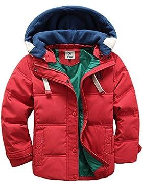 JINZFJG Niños Chaqueta de Pluma Abrigo con Capucha Desmontable Cálido para Invierno