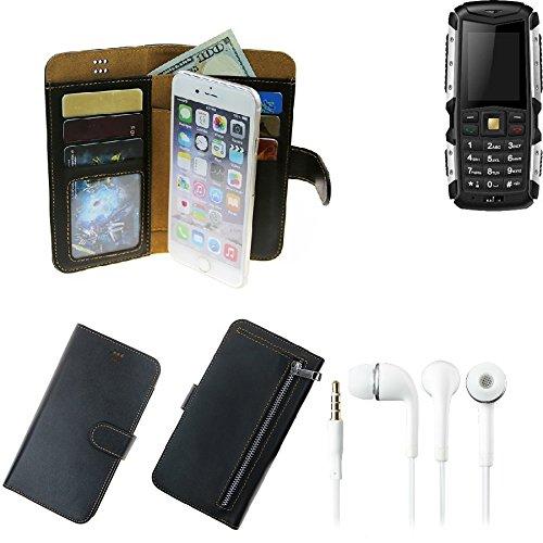 K-S-Trade TOP Set für Jiayu F2 Portemonnaie Schutz Hülle schwarz aus Kunstleder + Kopfhörer Walletcase Smartphone Tasche für Jiayu F2 vollwertige Geldbörse mit Handyschutz