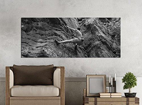 Leinwandbilder 1Tlg 100x40cm schwarz weiß Freeclimbing Felsen Klettern Extrem Leinwandbild Kunstdruck Wand Bilder Vlies Wandbild Leinwand Bild Druck 9Z1858, Leinwandbild Größe:100x40cm
