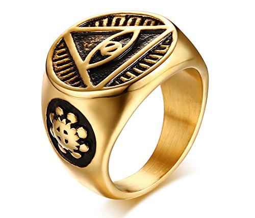 Vnox Herren Edelstahl Dreieck Alle sehen Eye of God Signet Band Ring Retro ägyptischen Schmuck (Gold ägyptischen Ring)
