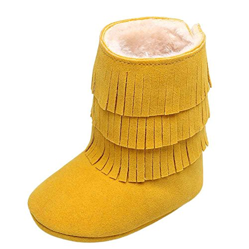 Baby Girl Double-Deck Boots Tassels Soft Warm Comfortable Anti-Slip Scrub Shoe Upper Cloth Sole Winter Crib Shoes Toddler Boots Beige Black Blue Brown Hot Pink Pink Red Yellow